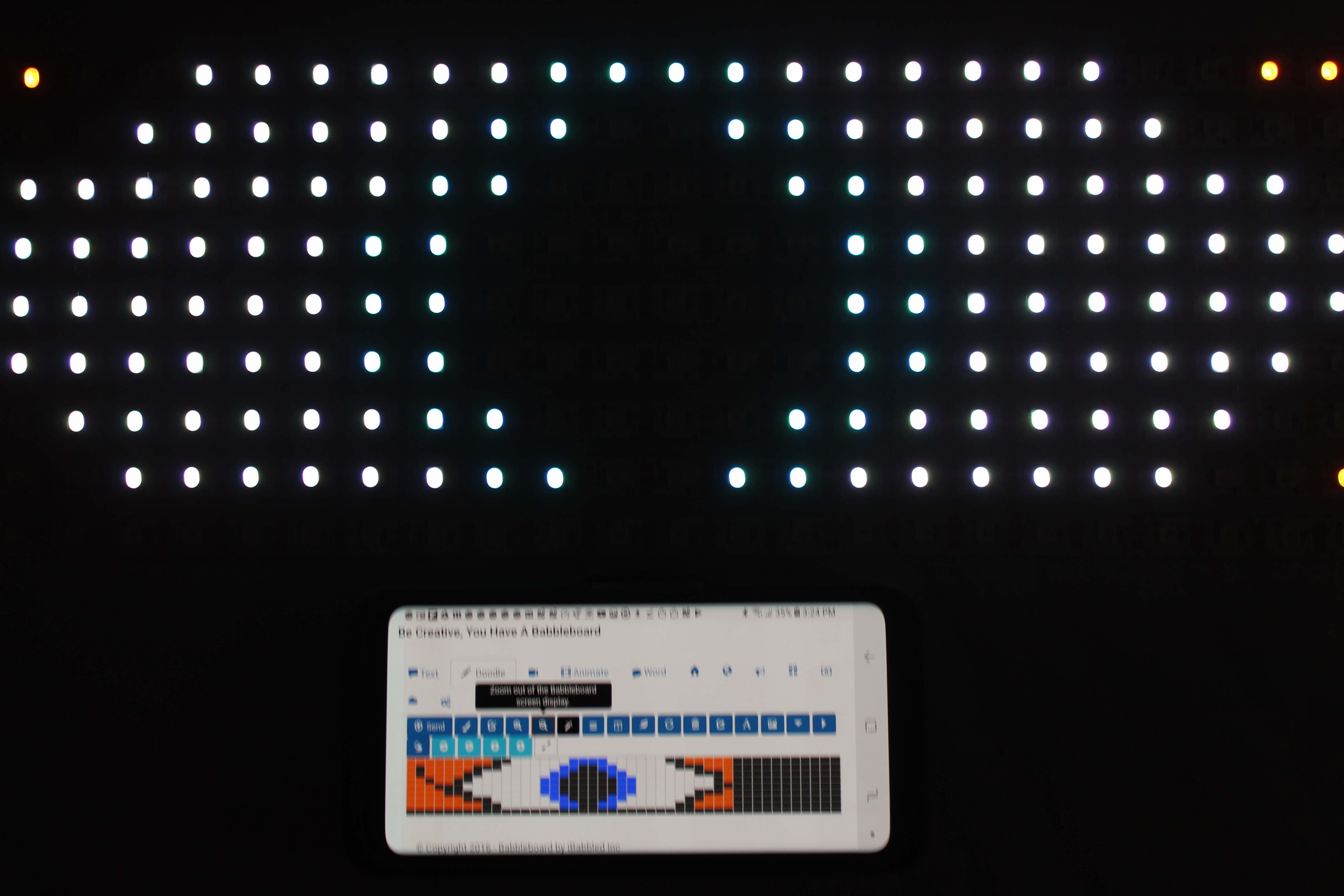 The bitmap demo for the Babbleboard LED IOT Display