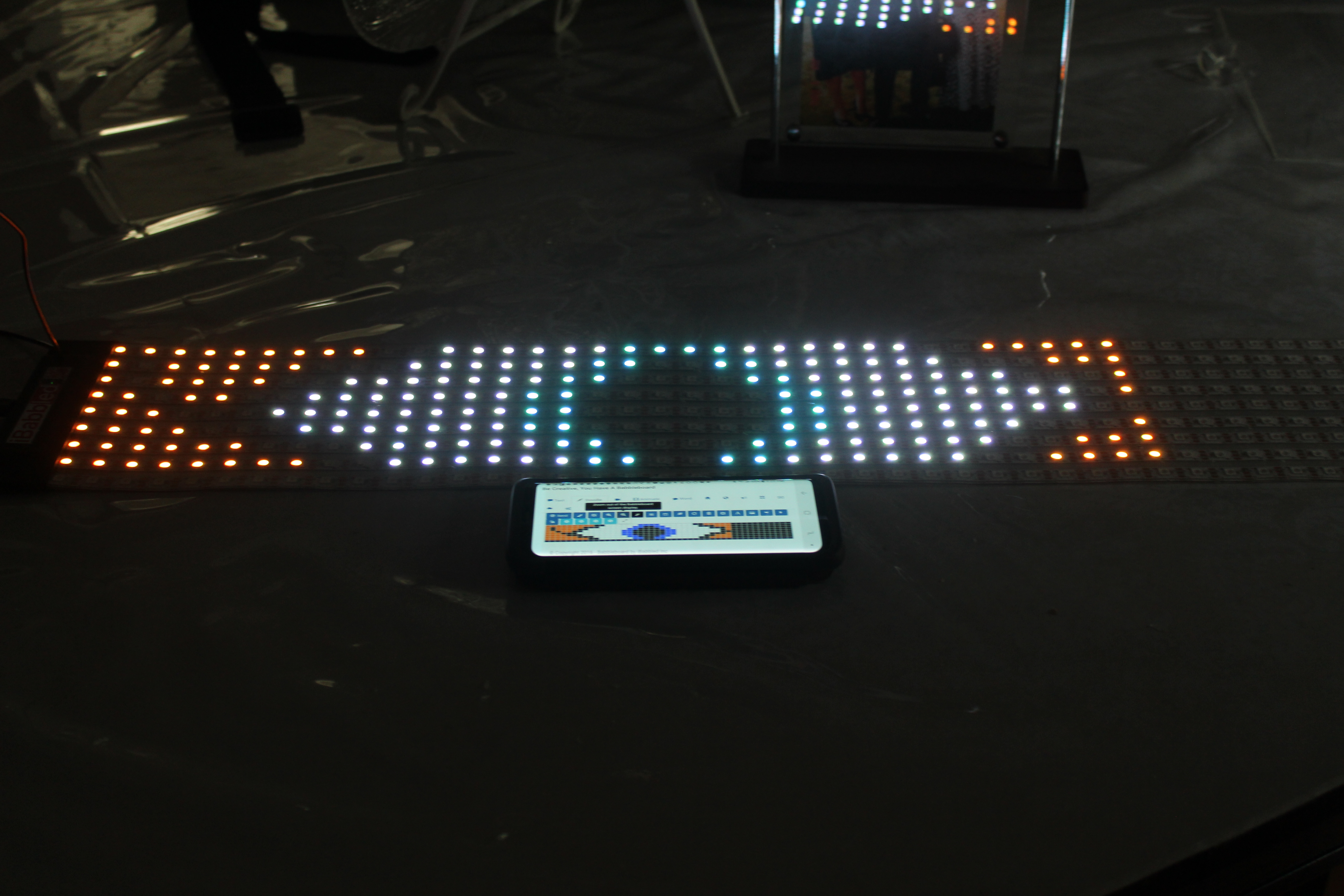 LED Display and phone playing bitmap